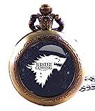 Geschenkbox Game of Thrones Winter is Coming, antik, bronzefarben Gravur Quarz-Taschenuhr/Kettenuhr