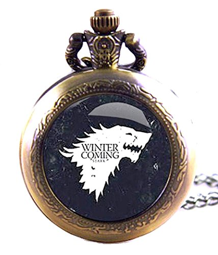 Juego de Tronos Winter Is Coming Reloj de bolsillo de cuarzo, diseño de bronce...