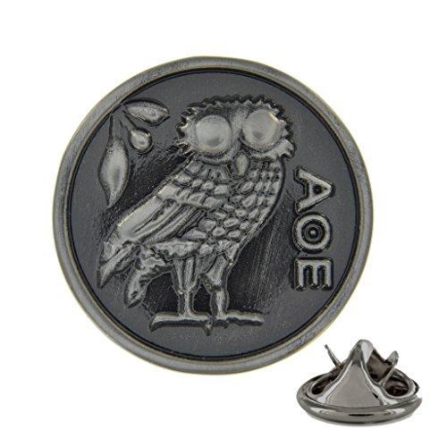 Athena Eule rund gebürstet Metall-Pin Badge