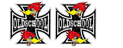 Oldschool Eisernes Kreuz Iron Cross Grunge distressed Style Devil Retro Rebel Ratrods Hotrod Vintage Aufkleber Sticker Decal Autocollants Pegatinas + Gratis Schlüsselringanhänger aus Kokosnuss-Schale + Auto Motorrad Laptop Notebook Koffer Skateboard Snowboard Tuning Racing Motorsport (Iron Cross Decal)