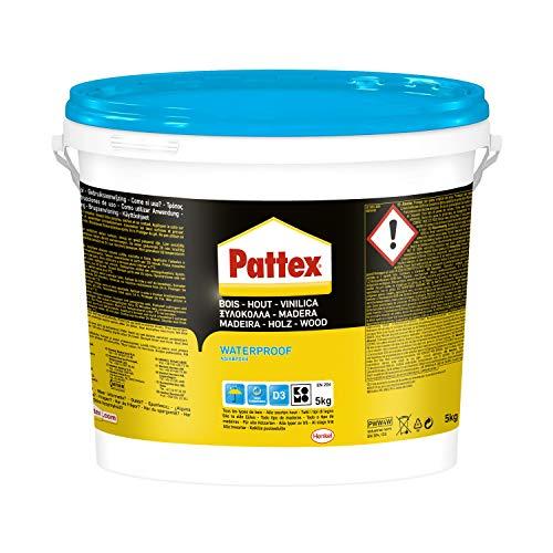 Pattex vinilica idroresistente colla per legno resistente all'acqua, adesivo acetovinilico per montaggi, assemblaggi e laminature in ambienti umidi e caldi, 1 x 5kg