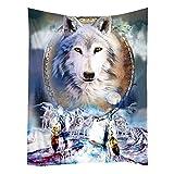 Violetpos Tapestry Indian Wandbehang Bettlaken Tapissery Tagesdecke Strand Decke Hippie Wand Hängende Dekor Dreamcatcher White Wolf Wölfe Wildes Tier 150x200 cm