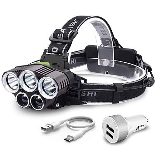 Stirnlampe LED, witmoving Kopflampe USB Wiederaufladbar Stirnlampe Laufen mit 5 Cree LED, USB Lade, 6 Modi Kopflampe, 15000 Lumen Helm Licht für Camping, Laufen, Wandern, Angeln