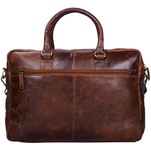 STILORD 'Aaron' Umhängetasche Leder 15,6 Zoll Laptoptasche Aktentasche Bürotasche Unitasche mit Schultergurt Business Vintage, Farbe:cognac - dunkelbraun antik - braun