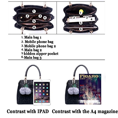 Umhängetasche Umhängetasche Weiches ZHI Kapazität Leder Leder PU Handtasche Große Damen Black WU aREpqw4n