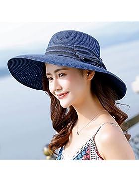 Sombrero de Paja playa Hat sombrero para el sol Protección solar a lo largo del visor grande playa de vacaciones...