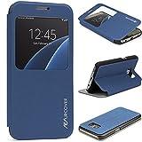 Urcover® Samsung Galaxy S7 Hülle View Case Schutzhülle Tasche Schale Galaxy S 7 Etui Handyschutz Dunkel Blau