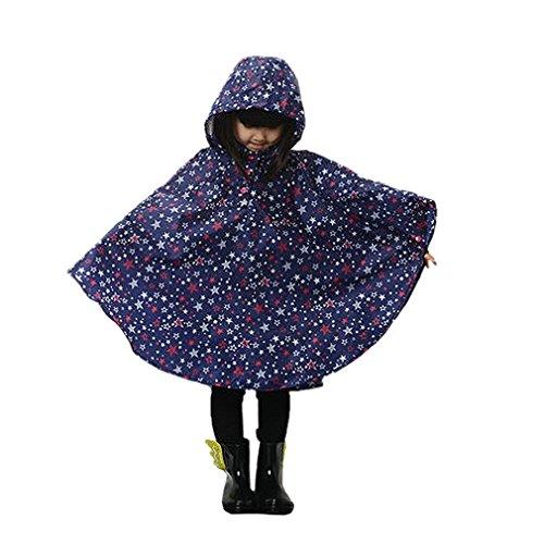 Très Chic Mailanda Regenmantel Kinder Regenponcho mit Kapuze wasserdicht regencape für Kinder und Mädchen (L, Blau)