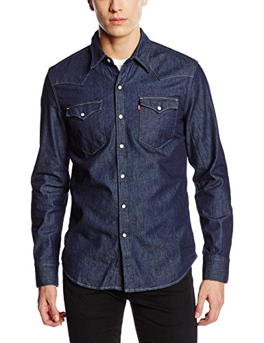 Levi Jeans ' Slim S Fit (Levi's Herren Regular Fit Freizeithemd, Blau (Dark Indigo - Flat Finish), S)