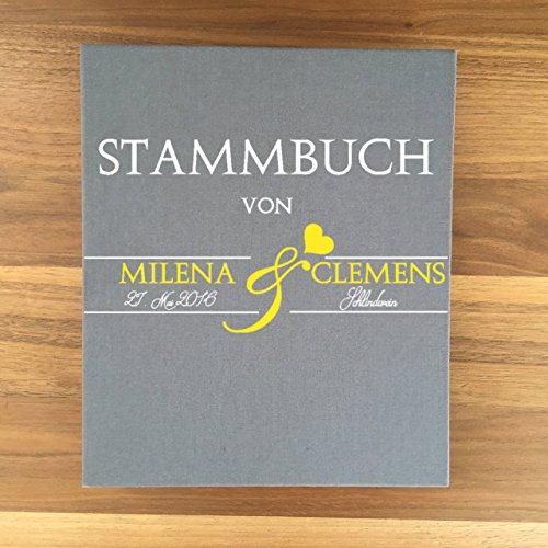 Stammbuch der Familie A5 inkl. Personalisierung Bezug Leinen grau Nr. 15