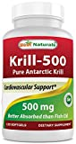 Krill Oil 500mg 120 Softgels - 100% Pure Cold Pressed Antarctic Krill Oil