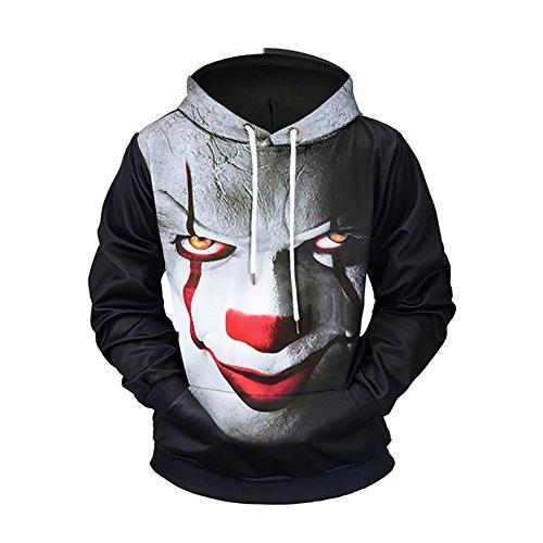 SZIVYSHI Herren 3D Druck Muster Sweatshirt Hoodie Kapuzenpullover Hoody Pulli Pullover Teufel Clown Drucken Übergröße L - Clown Drucken