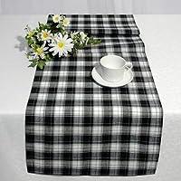 Runner da tavola moderno, elegante design in Bianco e nero Scacchi 40x 140cm, tovaglie e passanti disponibile in stesso design