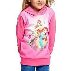 Idea Regalo - Disney Felpa con Cappuccio Princess Kids Arielle Rapunzel Belle con Cappuccio Rosa - 104