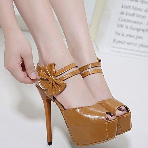 Oasap Women's Peep Toe Bow Stiletto Heels Sandals Black