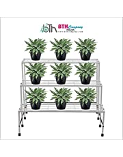 "BTH Company 3Step Flower Pot Holder/ 3 Step Plant Pot Stand, Garden Bench,Iron Bench for Roof and Outdoor [L 34"" (850mm) x W 27"" (672mm) x H 26"" (660mm)]"