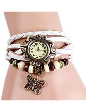 Demarkt Retro Vintage Damen Frauen Armbanduhr Armreif Uhr Schmetterling Design Anhänger Spangenuhr Quarzuhren