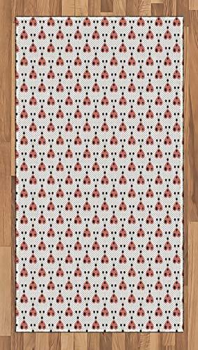 Marienkäfer Teppich (ABAKUHAUS Marienkäfer Teppich, Herzförmige Bugformen, Deko-Teppich Digitaldruck, Färben mit langfristigen Halt, 80 x 150 cm, Anthrazit grau Hellgrau Korallenrot)