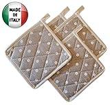 Pezzoli Set 4 presine da Cucina Shabby Chic Pois Bianchi con Bordo Crema Molto Resistente al Calore e ai lavaggi in Lavatrice, Solide e Spesse, Misto Poliestere, Made in Italy