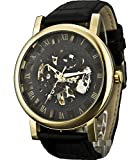 Sewor Crusader Mens mechanische Hand Wind Skelett transparente Armbanduhr mit Gold Case (Schwarz)