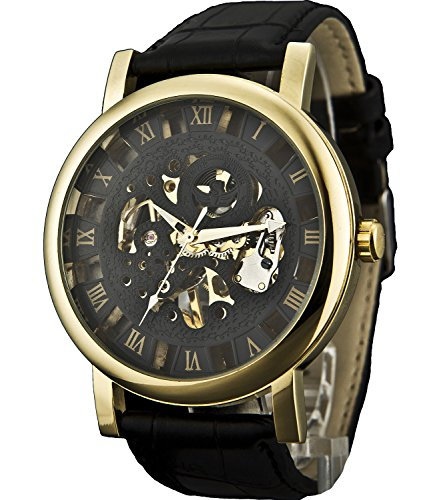 Sewor Men's Mechanical Hand-Wind Wrist Watch with Roman Numeral Display (Gold Black)
