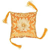 Coussin de brocart couté carré orange (12x3cm) avec coussin à billes Tassels Singing