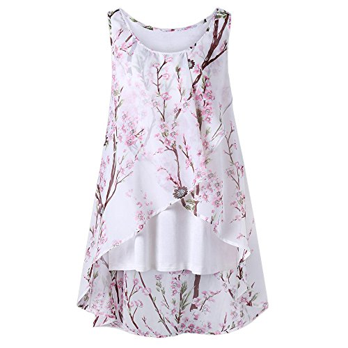 OverDose Damen Sommer Ärmellos O-Ausschnitt Casual Chiffon Solide Weste Bluse Tank Tops Camis Frauen T Shirt Tees (EU-46/CN-L, Y-Weiß)
