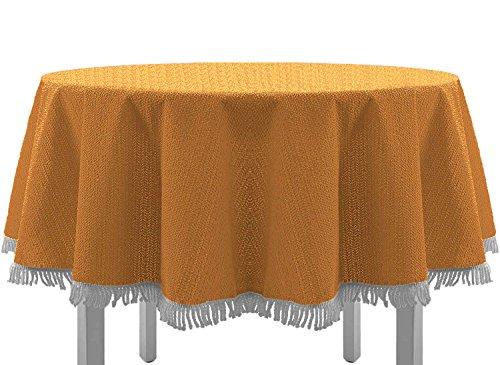 Exclusive Nappe de table de jardin, ronde, ovale, carrée classique avec franges, Textile, Orange, 160 cm