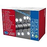 Konstsmide 3696-207 LED Globelichterkette mit großen runden Dioden/für Außen (IP44) / 24V Außentrafo / 80 kalt weißen Dioden/schwarzes Kabel