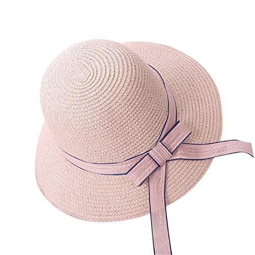 You will think of me Sie Werden an Mich Denken Visor Vacation Travel All-Match-Frauen Strohhut Fischerhut Outdoor Strand Sonnenhut Sonnencreme Ribbon Dekoration, Pink