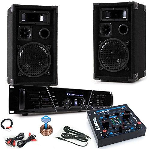 PA Karaoke Musik Anlage Verstärker Boxen Mixer Mikrofon Kabelset DJ-Party 2 (Stereo-anlage Für Den Club)