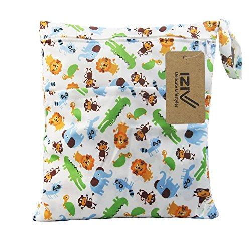 iZiv(TM) Wasserdichtes Baby Wiederverwendbare Nass und Trocken Windel Beutel Organisator Beutel 2 Reißverschluss Printing Wickeltasche(Tier)