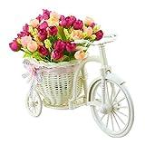 Jarown - Cestino intrecciato a mano con fiori di campo artificiali, in seta, e supporto a forma di bicicletta, per decorazioni nuziali o casalinghe Giardino Rose Red