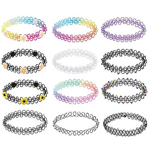 BodyJ4You 12 Teile Halsband Halskette Goth Henna Tattoo Stretch Elastik Blumen Plastik Schmuckpackung