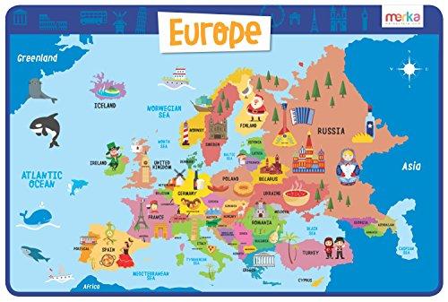 Tovaglietta educativa per bambini - tovaglietta antiscivolo in silicone, lavabile e riutilizzabile - dimensioni 45 x 30 cm - mappa europa