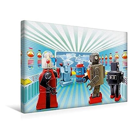 Premium Textil-Leinwand 45 cm x 30 cm quer, Alles im Griff – Spielzeug-Roboter arbeiten fleißig im Kontollraum | Wandbild, Bild auf Keilrahmen, ... Leinwand, Leinwanddruck (CALVENDO Hobbys)