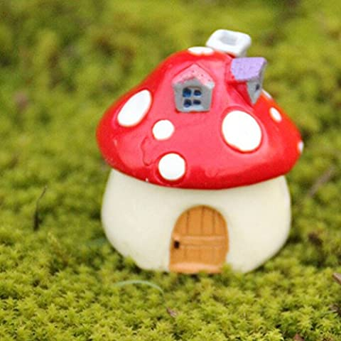 BESTIM INCUK Miniature Fairy Garden Mushroom House Ornament Dollhouse Plant Pot Figurine DIY Outdoor Decor Home