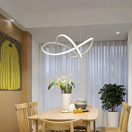 Pendelleuchte LED Dimmbar Esstisch Hängelampe Wohnzimmerlampe mit Fernbedienung Deckenleuchte 38W Landhaus Stil Acryl Lampenschirm Design Pendellampe für Schlafzimmer Esszimmer Küche Lampe (Weiß)