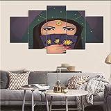 DOORWD Leinwanddruck Wandbilder Home Dekorativ 5-teilig Großplakat Maskierte Frau 30x40cmx2 30x60cmx2 30x80cmx1 Kein Rahmen