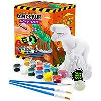 Original Stationery: Pinta tu Propia Hucha Dinosaurio de Cerámica DIY - Manualidades de Dinosaurios para Pintar Kit de T-Rex Que Brilla en la Oscuridad! Regalos para niños!