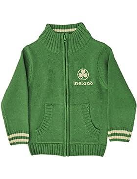 Full Zip Irland Kinder Pullover bestickt mit weißen Shamrock, grün Farbe