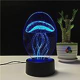LED-Fernbedienung Farbe Nachtlichter USB wiederaufladbare 3D visuelle kreative Lampe Geburtstagsgeschenke (Qualle)