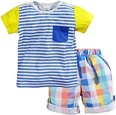 Fiream Los niños de algodón de manga corta camisas y pantalones cortos Set