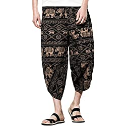 Zhuhaitf Pantalones para Hombre algodón harén Pantalones Hippie Boho Pantalones Mens Harem Hippie Yoga Pants Trousers M-5XL - Variedad de Colores