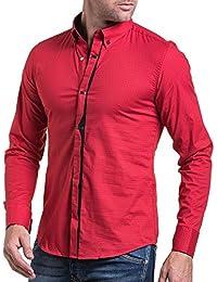 BLZ jeans - Chemise homme rouge à motifs et pressions