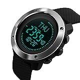 caluxe deporte hombres correa de PU reloj Digital LED cronómetro hora mundial brújula alarma...