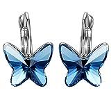 J.RENEÉ ' Sueño de la mariposa' pendientes mujer de aro con cristal Swarovski Elements, joyas para mujer (Azul)