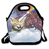 Rainbow Astronaut Cat Lunch Bag Lunch Tote