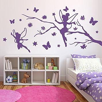 Amazing Denoda® Zweig Mit Elfen, Schmetterlingen Und Blumen   Wandtattoo Violett 54  (Wandsticker Wanddekoration Wohndeko Wohnzimmer Kinderzimmer Schlafzimmer  Wand ... Great Pictures