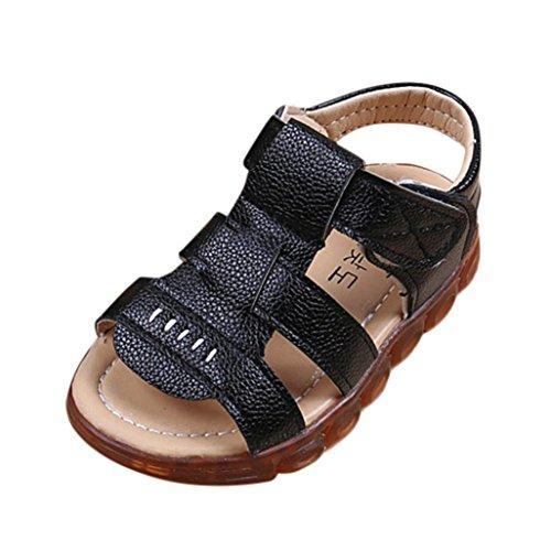 Sunday Sandalen Kinder Führte Helle Schuhe Jungen Weiche Lederne Leuchtende Sandelholze LED Mode Sommer (22, - Schuhe Schwarze 9t